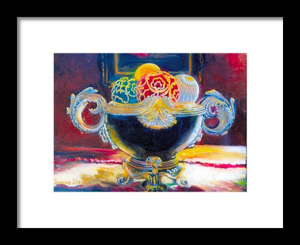Black Ornate Bowl Framed Print featuring the painting Ornate Black Bowl by Jeanene Stein