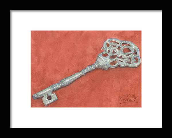 Mansion Framed Print featuring the painting Ornate Mansion Key by Ken Powers