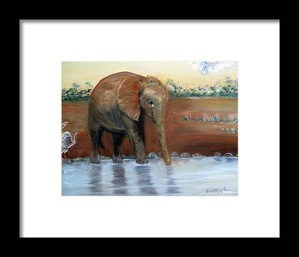 African Wildlife Framed Print featuring the painting Orphaned by Amelie Gates