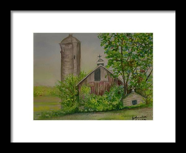 Landscape Framed Print featuring the painting Orth Rd Barn by Judith Maculan