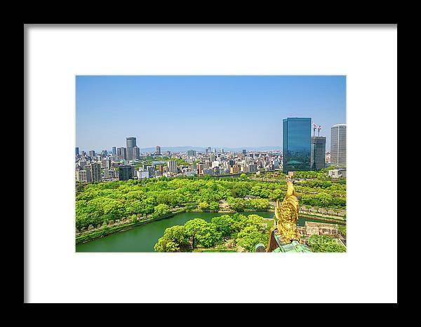 Osaka Framed Print featuring the photograph Osaka Castle Skyline by Benny Marty