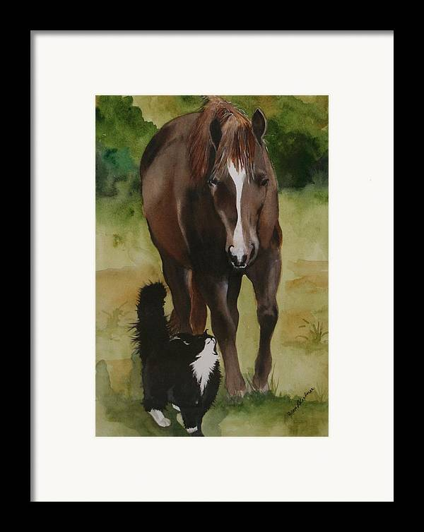 Horse Framed Print featuring the painting Oscar And Friend by Jean Blackmer