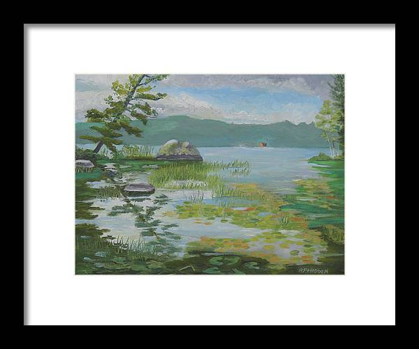 Adirondacks Framed Print featuring the painting Oseetah Lake Cove by Robert P Hedden