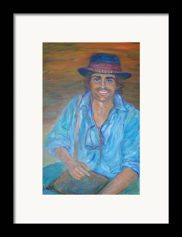 Portrait Of A Gypsy Against A Santa Fe Sky Framed Print featuring the painting Oshkosh By Gosh by Suzanne Reynolds
