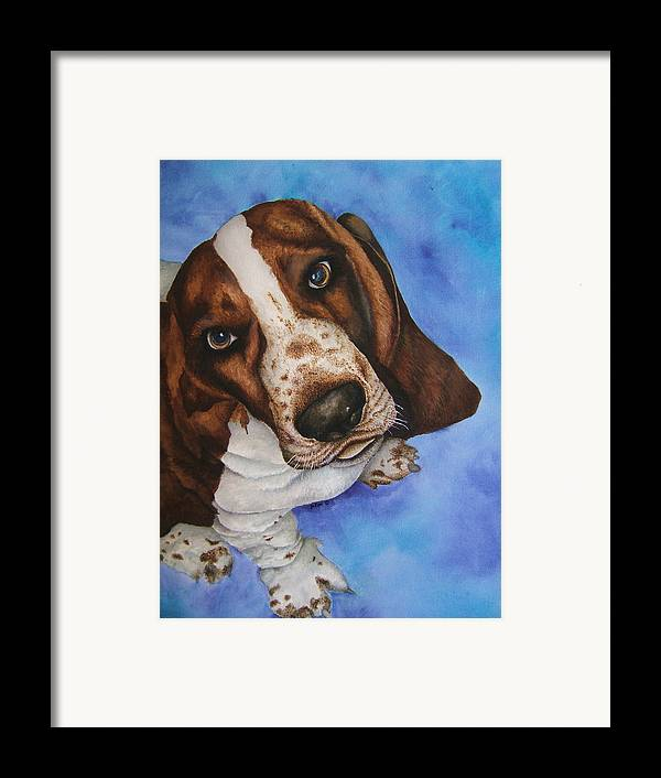 Basset Hound Dog Puppy Framed Print featuring the painting Otis The Basset Hound by JoLyn Holladay