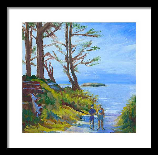 Oregon Coast Framed Print featuring the painting Otter Rock Marine Garden Path by Pam Van Londen