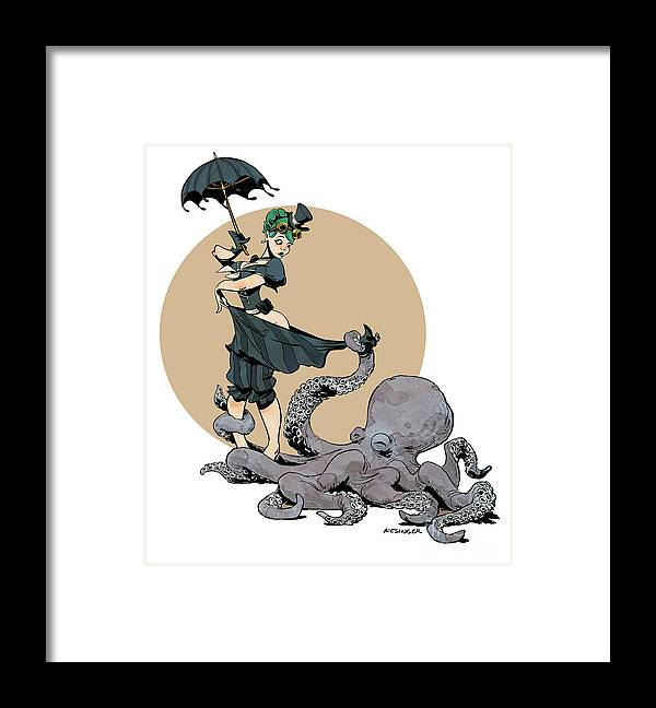 Octopus Framed Print featuring the digital art Otto By The Sea by Brian Kesinger