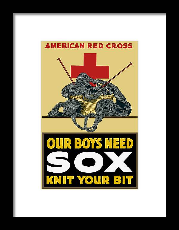 Red Cross Framed Print featuring the painting Our Boys Need Sox - Knit Your Bit by War Is Hell Store