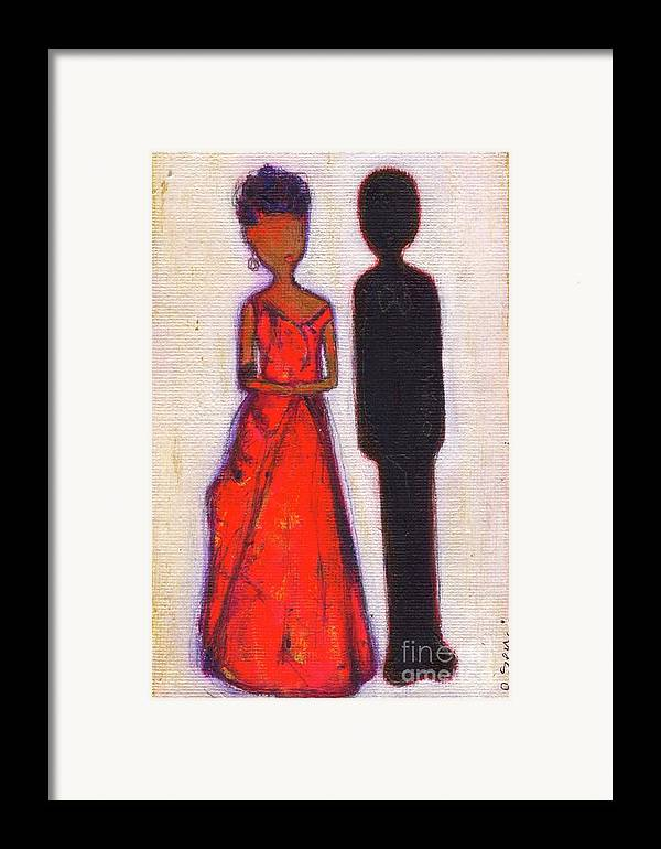 Girl Framed Print featuring the painting Our First Lady In Red Her Husband Is Black by Ricky Sencion
