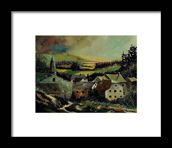 Village Framed Print featuring the painting Our Opont Belgium by Pol Ledent