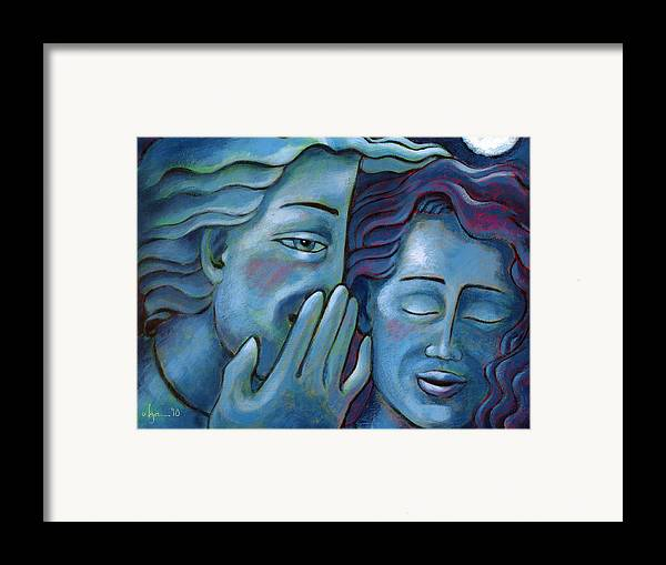 Secrets. Faces Framed Print featuring the painting Our Secret Painting 49 by Angela Treat Lyon