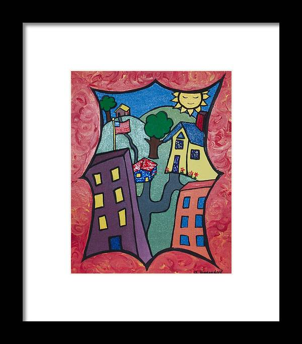 Framed Print featuring the painting Our Town by Jennifer Hernandez