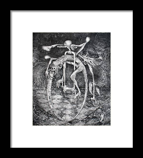 Ouroboros Framed Print featuring the drawing Ouroboros Perpetual Motion Machine by Otto Rapp