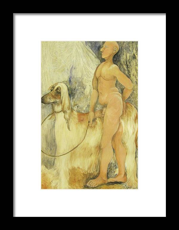 Nude Figure Framed Print featuring the painting Out For A Walk by Georgia Annwell