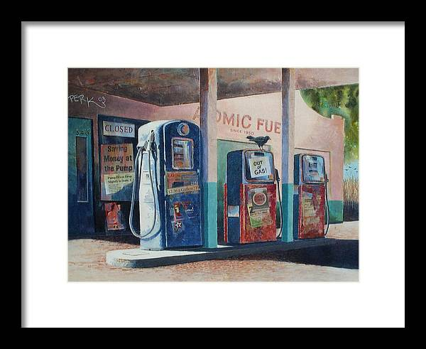 Nostalgic Genre Framed Print featuring the painting Out Of Gas by Don Trout