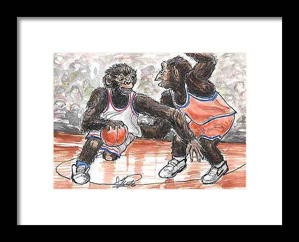 Basketball Framed Print featuring the painting Out Of My Way by George I Perez