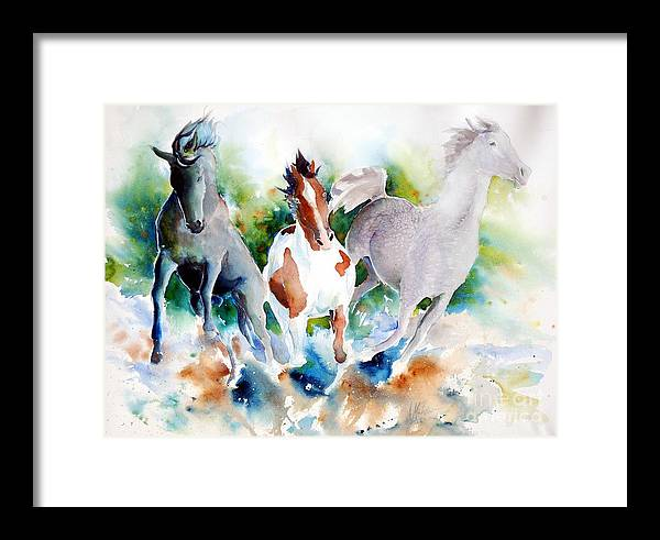 Horses Framed Print featuring the painting Out Of Nowhere by Christie Martin