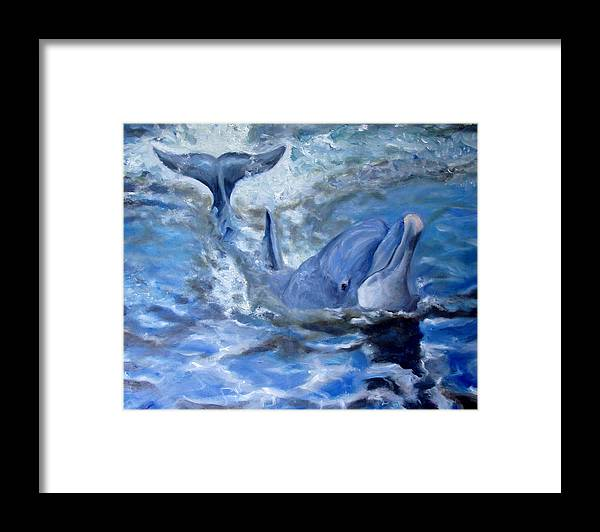 Dolphin Framed Print featuring the painting Out Of The Blue by Graham Keith