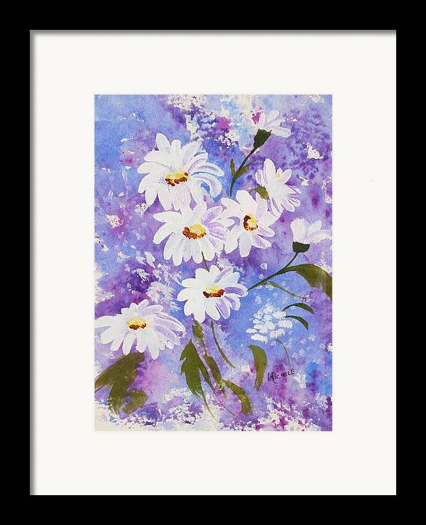 Flowers Framed Print featuring the mixed media Out Of The Blue by Michele Turney