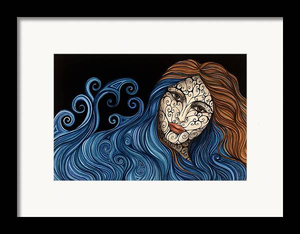 Figurative Framed Print featuring the painting Out Of The Blue by Tina Blondell