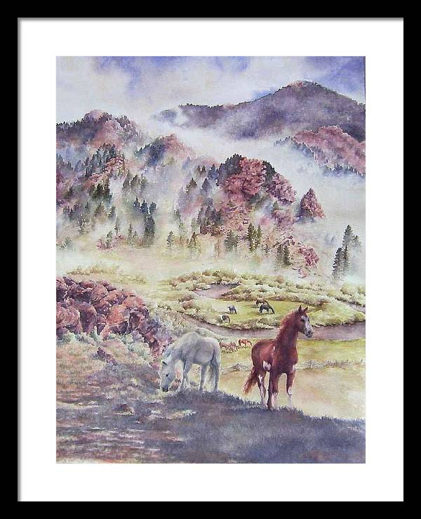 Horses Framed Print featuring the painting Out Of The Mist by Barbara Widmann