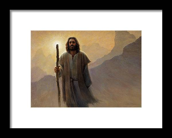 Jesus Framed Print featuring the painting Out of the Wilderness by Greg Olsen