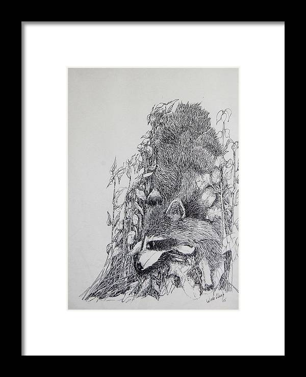 Animals Framed Print featuring the drawing Out Of The Woods by Wade Clark