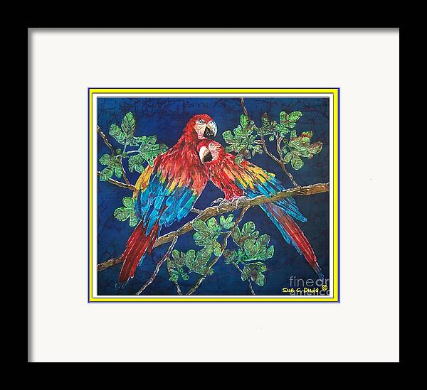 Parrots Framed Print featuring the painting Out On A Limb- Macaws Parrots - Bordered by Sue Duda