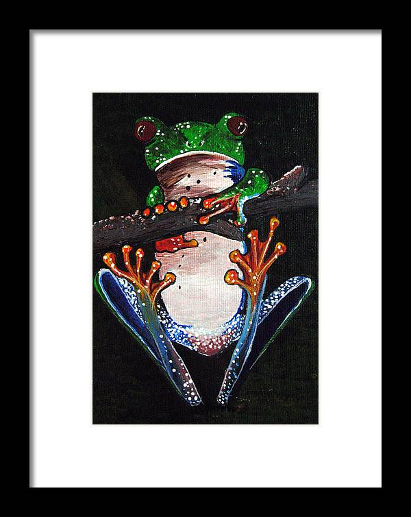 Tree Frog Framed Print featuring the painting Out On A Limb by Sharon Supplee