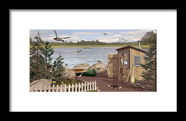Outhouse Framed Print featuring the painting Out Thayuh by Peter J Sucy