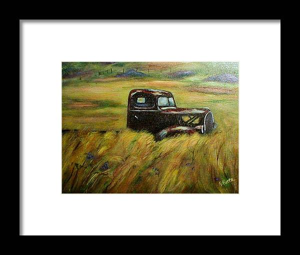 Vintage Truck Framed Print featuring the painting Out To Pasture by Gail Kirtz