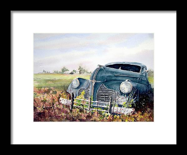 Classic Car Framed Print featuring the painting Out To Pasture by Sam Sidders