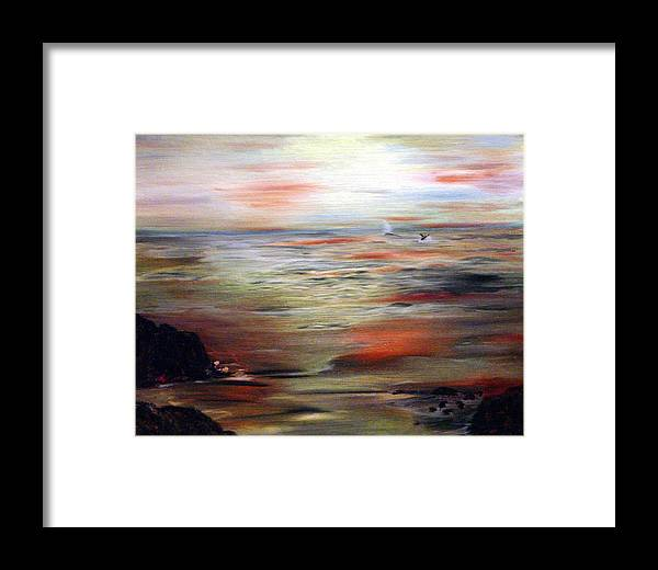 Seascape Framed Print featuring the painting Out To Sea by Julie Lamons