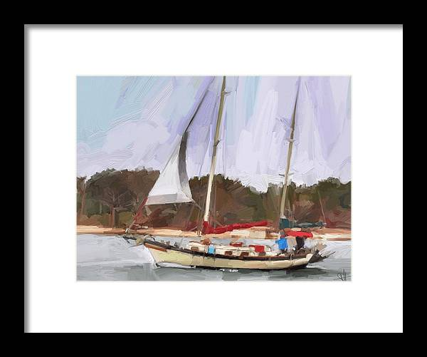 Florida Sailboat Art Framed Print featuring the digital art Outbound by Scott Waters