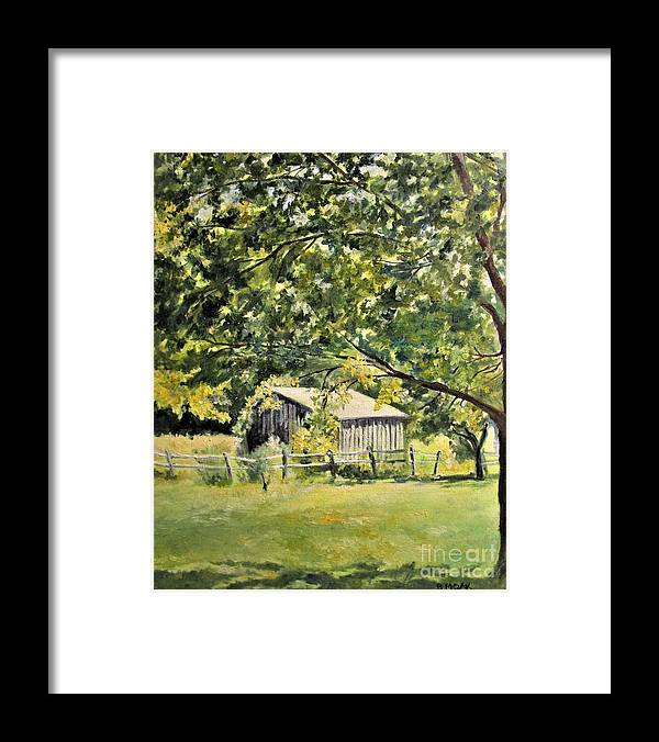 Barbara Moak Framed Print featuring the painting Outbuilding At Oriskatach New York by Barbara Moak