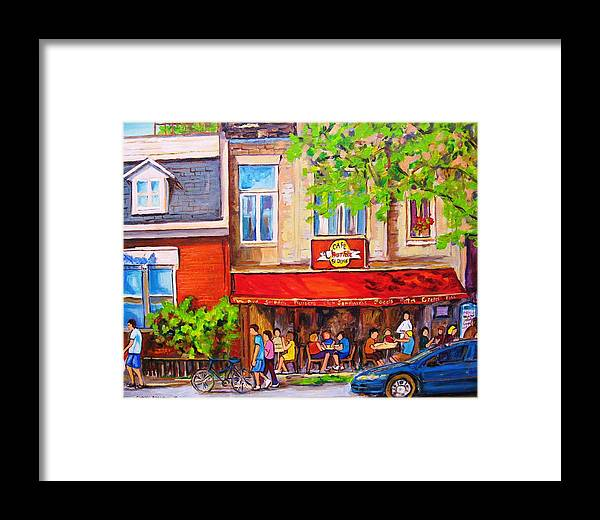 Montreal Framed Print featuring the painting Outdoor Cafe by Carole Spandau
