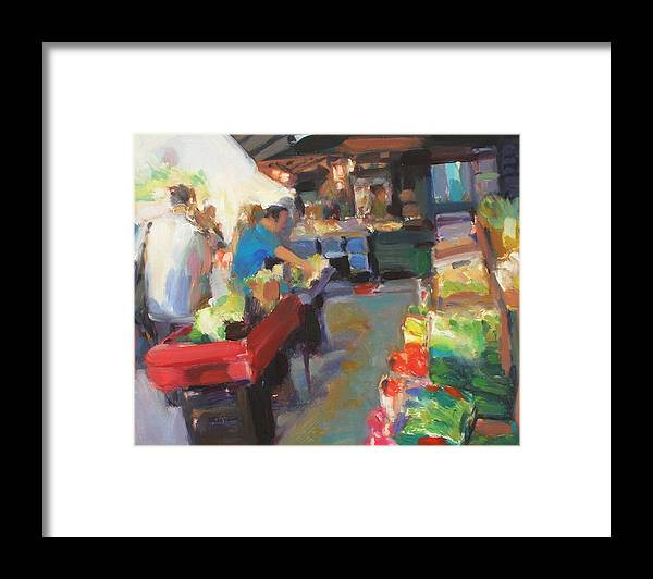 Outdoor Market Framed Print featuring the painting Outdoor Market by Merle Keller