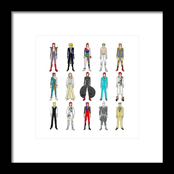Bowie Framed Print featuring the digital art Outfits Of Bowie by Notsniw Art