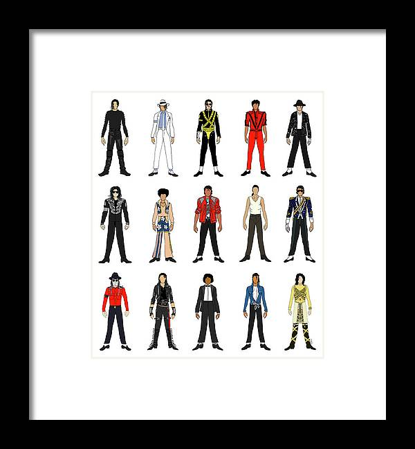 Michael Jackson Framed Print featuring the digital art Outfits of Michael Jackson by Notsniw Art