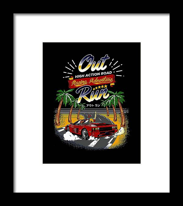 Outrun Framed Print featuring the digital art Outrun by Lizo Oneng