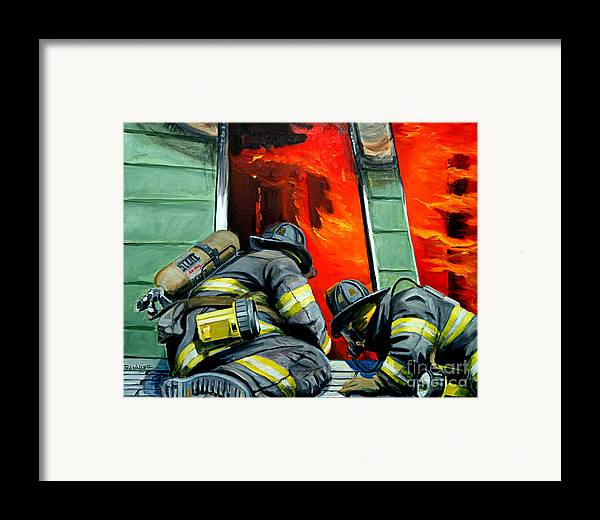 Firefighting Framed Print featuring the painting Outside Roof by Paul Walsh