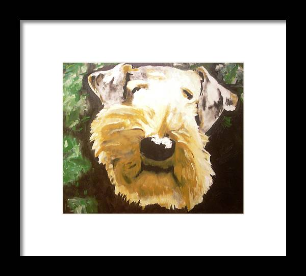 Airedale Art Framed Print featuring the painting Outside by Ruben Barbosa