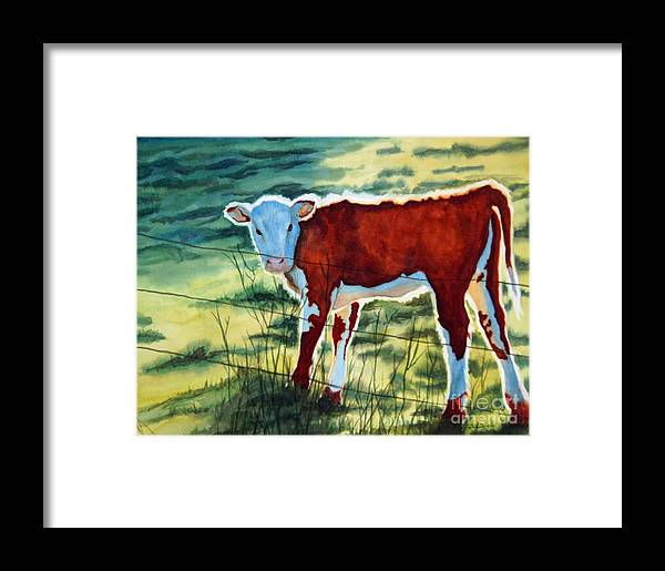 Animal Framed Print featuring the painting Outstanding In His Field by Gail Zavala