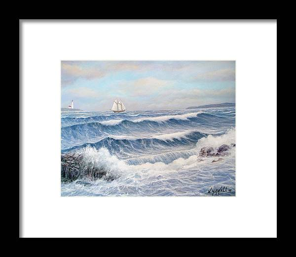 Seascape Framed Print featuring the painting Outward Bound by William H RaVell III