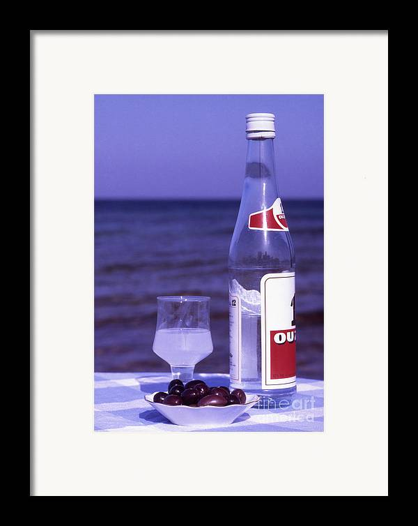 Drink Framed Print featuring the photograph Ouzo And Olives By The Sea by Steve Outram