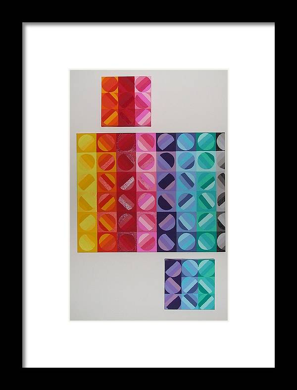 Multi Colored Circles Painting Framed Print featuring the painting Over And Under The Rainbow by Gay Dallek