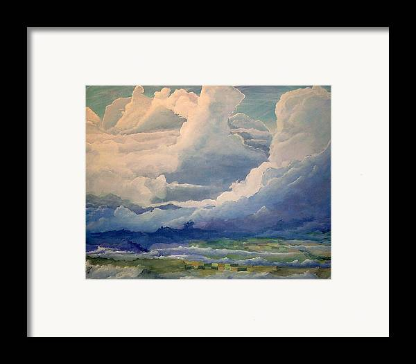 Clouds Framed Print featuring the painting Over Farm Land by John Wise