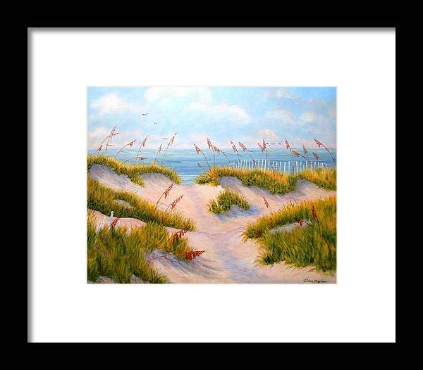 Ocean Framed Print featuring the painting Over The Dunes by Elaine Bigelow