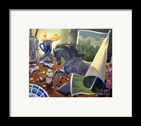 American Saddlebred Art Framed Print featuring the painting Over The Edge by Jeanne Newton Schoborg