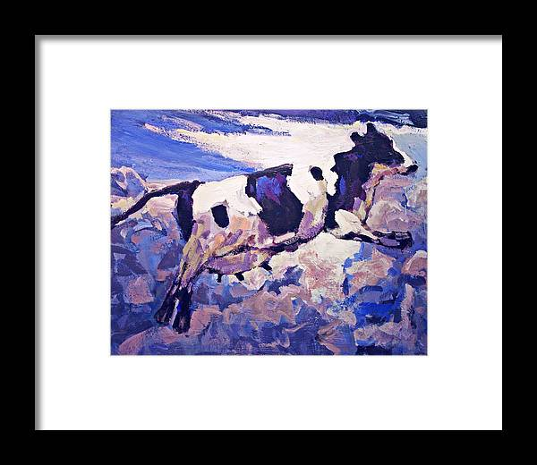 Cow Framed Print featuring the painting Over The Moon by Brian Simons